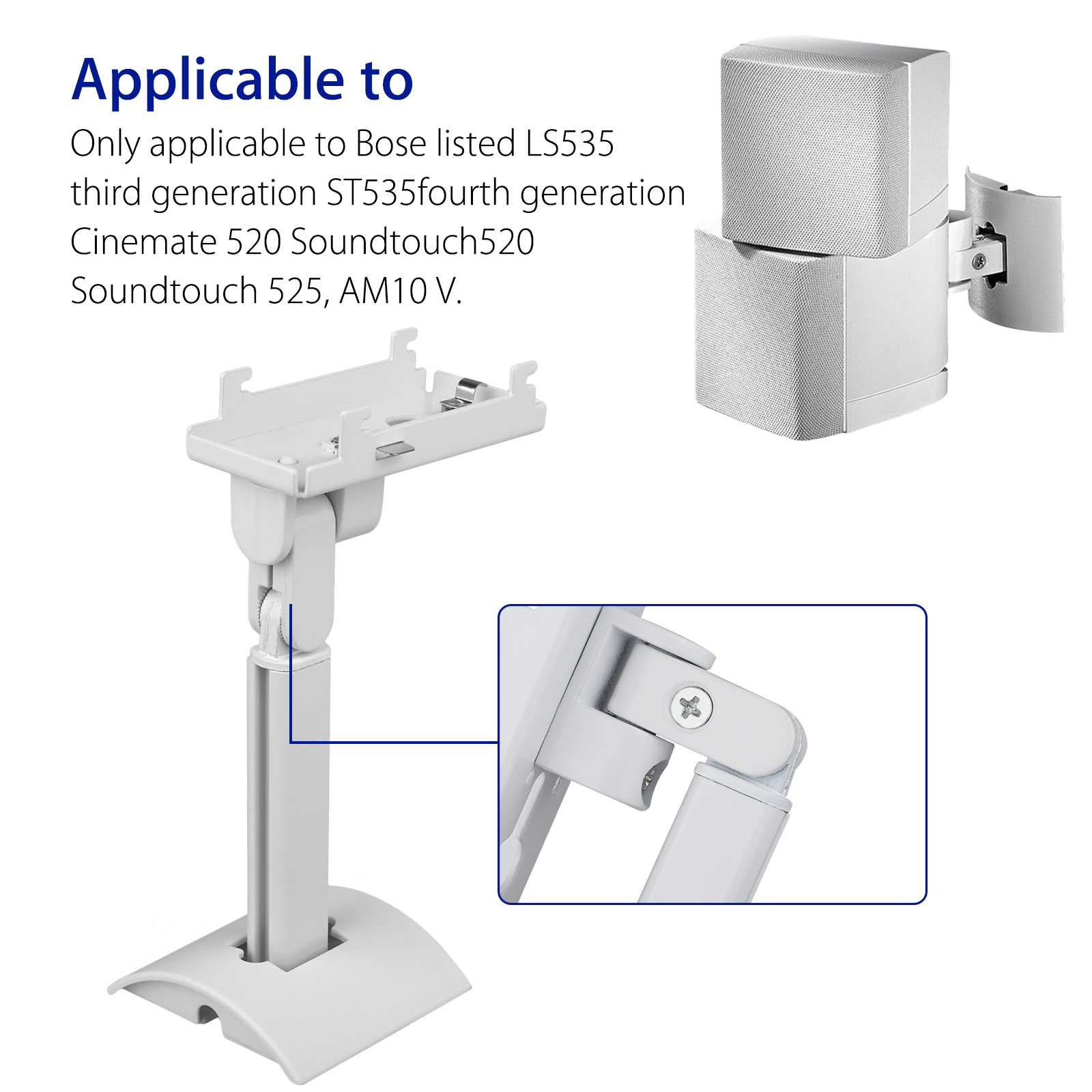 UB20-SERIES2-II-Wall-Ceiling-Bracket-Mount-for-Bose-all-Lifestyle-CineMate-White thumbnail 2
