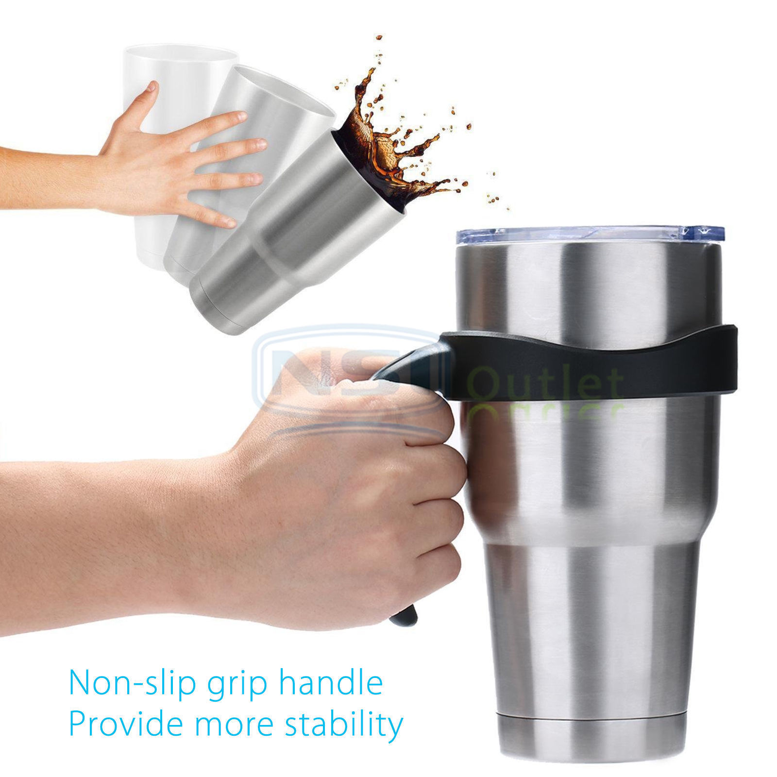 Handle-Lid-For-30Oz-YETI-RTIC-Ozark-Trail-Rambler-Sic-Tumbler-Travel-Cup-Holder thumbnail 8