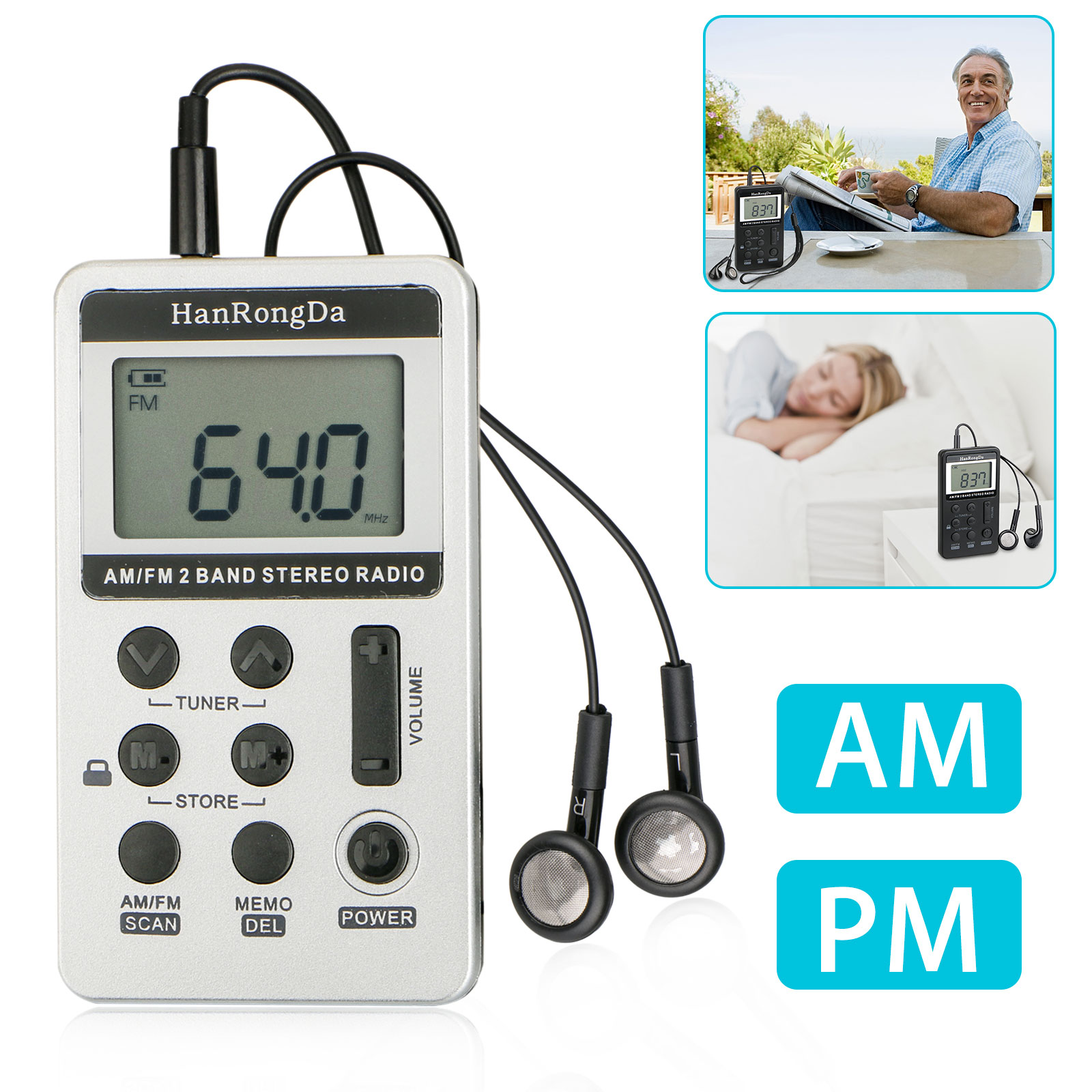 Portable Digital Pocket LCD AM/FM Radio Rechargeable with Ea
