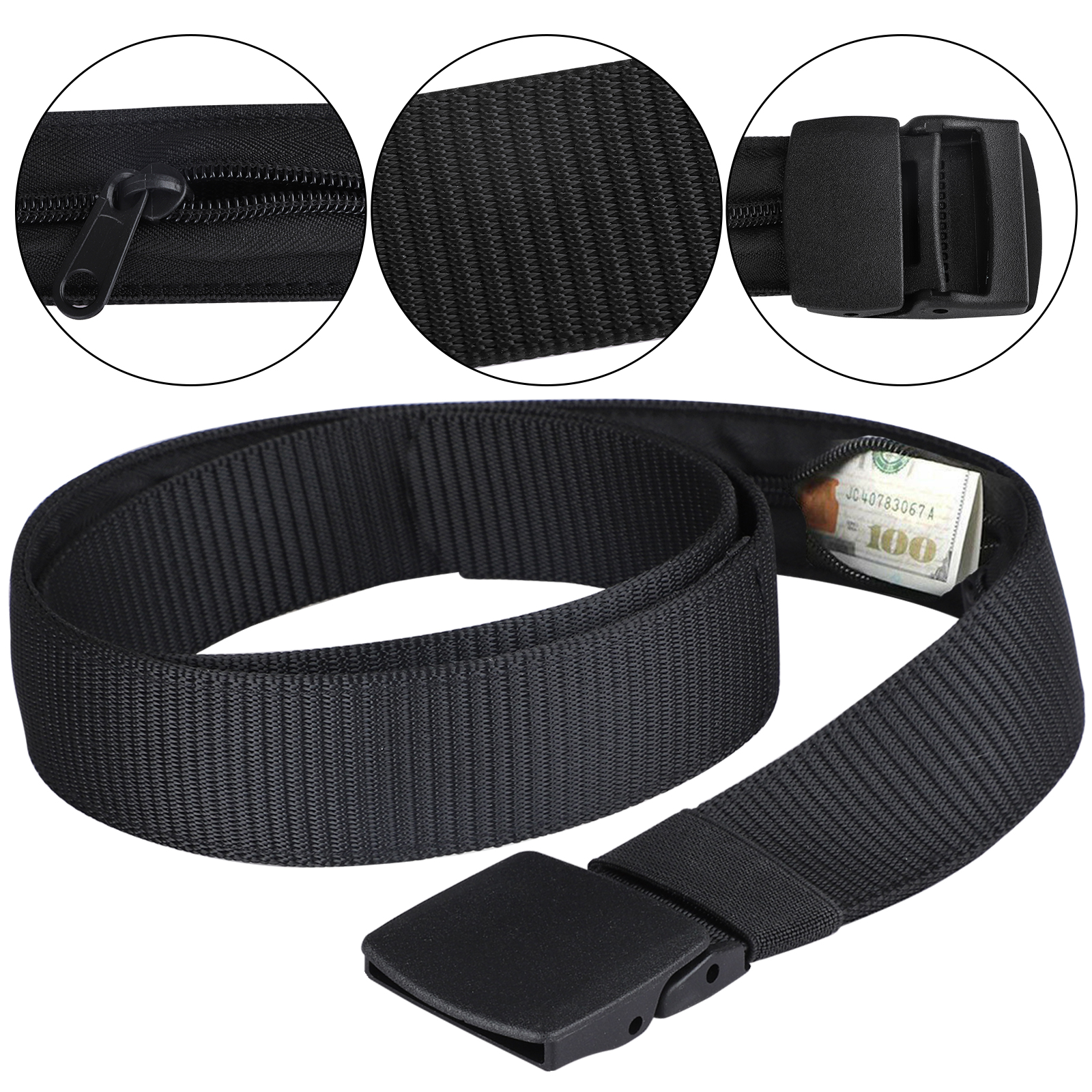 Travel Security Belt with Hidden Money Pocket Travel Anti-Theft Wallet With Non-Metal Buckle